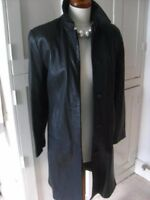 Ladies M&S long black real leather JACKET COAT size UK 12 10 length goth classic