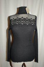 OSCALITO geripptes Rollkragen Langarm Shirt 30% Seide 6258 schwarz 36 NEU