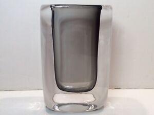"""1950s Orrefors Nils Landberg 6.25"""" Sommerso (Cased) Blown Glass Smoke Gray Vase"""