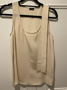 Joseph Sleeveless Silk Scoop Neck Top Size 36 Light Beige