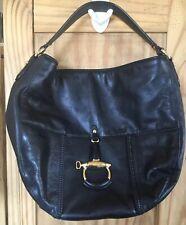 Lauren Ralph Lauren Black Leather Hobo Gold Horse bit Purple Shoulder Bag