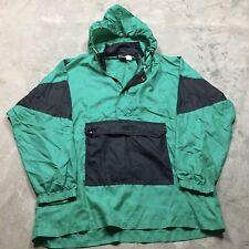 90s VTG ASICS ANORAK HOODED Windbreaker Jacket S / M Pullover 1/2 Zip Black 80s
