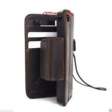 genuine vintage leather case fit iphone SE 5s 5c book wallet cover bracket brown