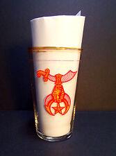 Shriner Masonic Drinking Glasses Embossed Crescent & Scimitar Set of 5 Gold Rim