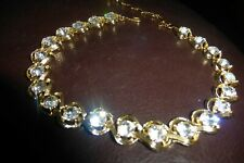 Vintage GORGEOUS KRAMER NECKLACE LARGE CLEAR very sparkly RHINESTONES signed