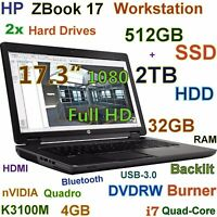"# 17.3"" Workstation HP ZBook 17 i7-Quad 512GB SSD + 2TB 32GB Quadro K3100M-4GB"