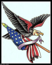 PATRIOTIC BALD EAGLE AMERICAN FLAG BIKER USA~4TH OF JULY 4TH~TEMPORARY TATTOO