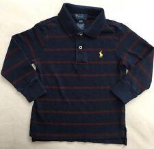 RALPH LAUREN POLO Boy's Shirt Long Sleeve Blue Stripes SIZE 3 / 3T
