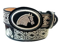 Embroidered Leather Belt Horse Head Black