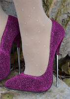 Womens Glitter Shinny Stiletto Heel Pointed Toe Party Super High Heel Shoes plus