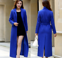 Womens Trench Slim Long Fashion Belt Parka Outwear Full Length Wool Coat Jacket