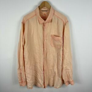 Tommy Bahama Mens Linen Button Up Shirt XL Peach Orange Long Sleeve Collared