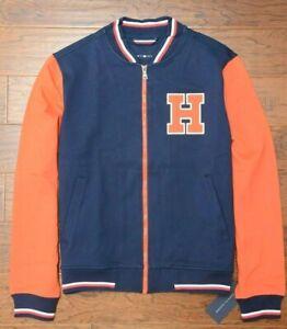Tommy Hilfiger $195 Full Zip Men's Navy/Orange Rayon Sport Varsity Jacket L