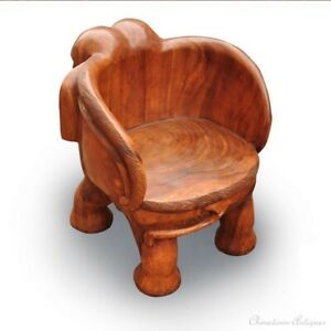 Thailand Hand Carved Wood Chair Zen Seat Zazen Chair Elephant Shapes Stool #1109
