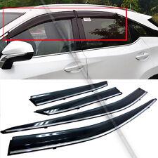 Fit 16-18 Lexus RX350 RX450H JDM Style Black Tinted w/ Chrome Trim Window Visor