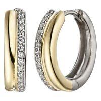 Ohrringe Klappcreolen mit Zirkonia weiß am Rand 925 Silber teilvergoldet Damen