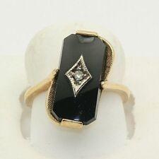 Vintage Estate Emerald Cut Onyx Diamond Ring Solid Gold