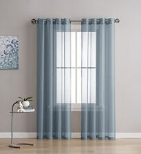 NEW -Linen Zone 2-Piece 54-by-95-Inch Grommet Sheer Panel Curtains, Dusty Blue