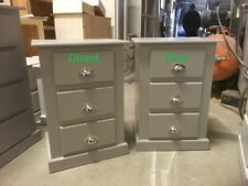 X2 (PAIR) SHAFTESBURY 3 DRAWER BEDSIDE CABINETS GREY/CHROME CUP HANDLES