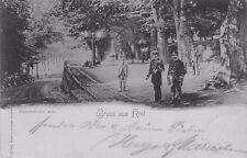 Seltene Foto AK 1898: Gruss aus Kiel - Düsternbroker Allee mit Marine-Offizieren