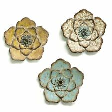 Set of 3 Metal Flower Hanging Interior Wall Art Home Decor