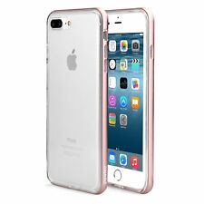 Pawtec iPhone 8+ 7+ Clear Protective TPU Bumper Case w/ Aluminum Frame Rose Gold