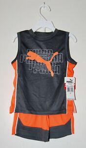 NWT PUMA Toddler Boys Dk Gray & Orange 2pc Sleeveless T-Shirt & Short Set sz 2T