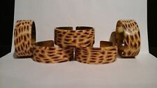 BRASS AND SNAKE SKIN LOOK NAPKIN RINGS - FIVE