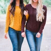 Women Long Sleeve Ladies Pullover Tops Winter Knitted Sweater Jumper Blouse Nice