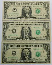3 Error Bills with Crease Lines, 1963-A + 1969-D $1 Federal Reserve Notes