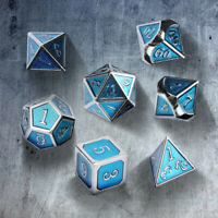 7Pcs/Set Metal Polyhedral Dice DND RPG MTG Role Playing and Tabletop Game, Blue