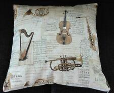 Kissenbezug, Kissenhülle 40x40 cm, Musik, Instrumente, Noten, Handarbeit, neu