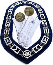 MASONIC COLLAR  Master Mason BLUE Lodge + GLOVES + COIN DMR-400SBCG $59  01