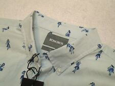 Bonobos 100% Cotton Pale Blue with Hula Girl Slim Fit Sport Shirt NWT XL $88