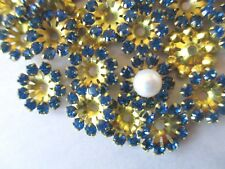 72 Set w/ Swarovski Rhinestones Flower Jackets Components - Capri Blue 11mm