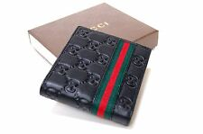 New Authentic Men's Gucci Black Guccissima Leather WEB Bifold Wallet