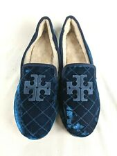 Tory Burch Billy Velvet Quilted Slippers Loafer Shoes Navy Blue Women's Size 7 M