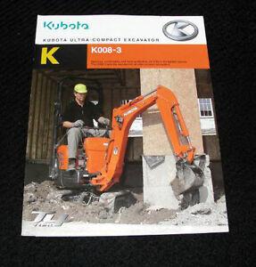 ORIGINAL KUBOTA K008-3 ULTRA COMPACT EXCAVATOR CATALOG BROCHURE VERY NICE