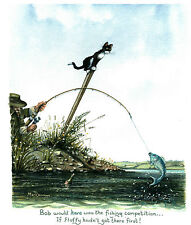 The fishing competition picture signed print by artist Mark Denman