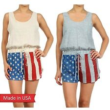 Sexy Hot American Flag Stars n Stripes 4th Of July Tank Romper Jumper Shorts USA