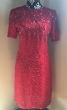 ❤VINTAGE❤ Silky Nites By Cherish Red Romantic Heavily Beaded Silk Dress Sexy