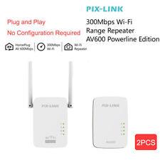 2x 300Mbps WiFi Powerline Ethernet Adapter Extender Wireless AV600 Homeplug LAN