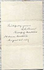 Leigh Richmond Brewer Bishop of Montana 1889 Autograph