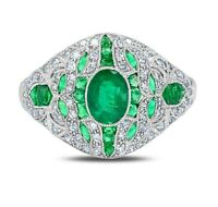 2.49TCW Oval Cut Emerald Diamond Antique inspired Vintage Platinum Ring Art Deco