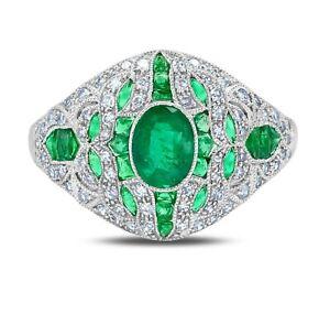 Columbian Emerald And Diamond Platinum Ring Vintage Art Deco 2.49 TCW Oval Cut