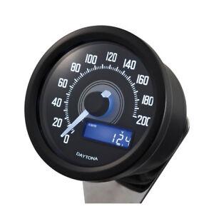 Velona Compte-Tours 60mm, Noir, Éclairage Blanc, Jusqu'À 200 Km/H , Pour