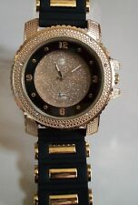 Men's Techno Pave Hip Hop Gold/Black Silicon Band Fashion Dressy Wrist Watch