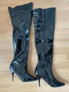 Sehr oft getragene Overknee-Stiefel Gr. 40-41 mega sexy lackschwarz