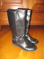 Girls Sonoma Black Faux Leather Quilted Buckle Fashion Boots Size 3 Medium