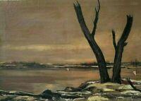 Original Bernard Lamotte ( NY/France 1903-1983) O/C Modernist Landscape, Signed